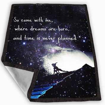 Peter Pan Galaxy Nebula Quotes Blanket for Kids Blanket, Fleece Blanket Cute and Awesome Blanket for your bedding, Blanket fleece *
