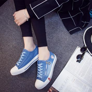 2016 Spring Women Casual Shoes Washed Denim Canvas Shoes Solid Color Zip Wear High Qua