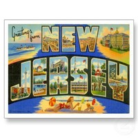 Greetings from  NEW JERSEY NJ Post Card from Zazzle.com