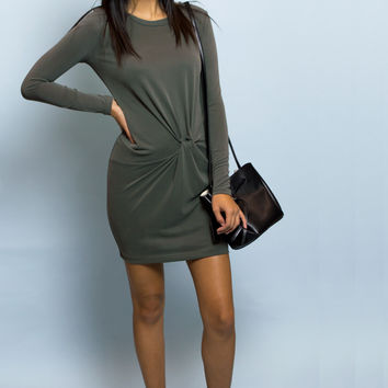 Alexa Side Twist Long Sleeve Olive Dress