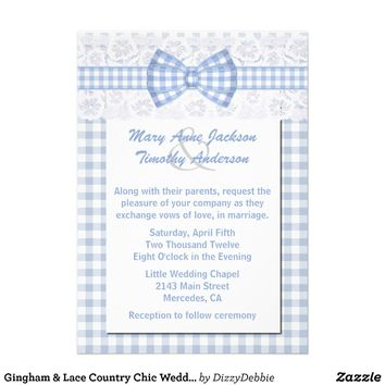 Gingham & Lace Country Chic Wedding Invite from Zazzle.com