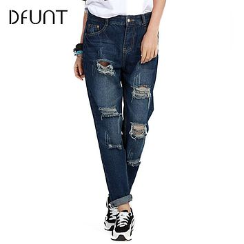 DFUNT New Arrival Ripped Harem Pants Women Stripe Double Pocket Rockabilly Drop-crotch Pants Rolling-up Loose Long Denim Jeans