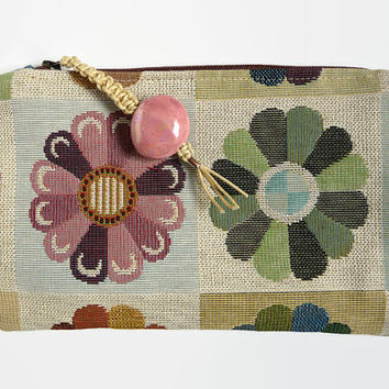 Clutch, evening clutch,  evening purse,  gobelin clutch,  makeup bag,flower clutch, retro pouch, tapestry clutch, seventies style