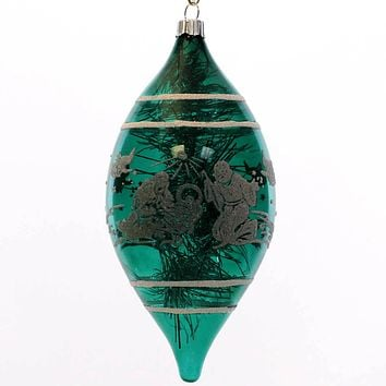 Shiny Brite Tinsel Teardrop Glass Ornament