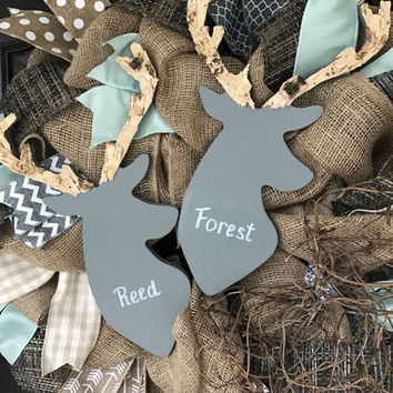 Twins Deer Wreath Baby Decor Woodland Nursery Gray Deer Nursery Wreath Newborn Baby Twins Decor
