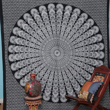 White Black Indian Wall Hanging Indian Tapestry Throw Bedspread Bed Decor Sheet Ethnic Decorative Art Bohemian Wall Hanging Beach Sheet