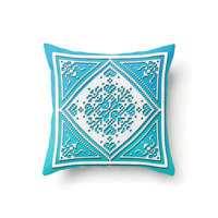 Snowflake Pillow Cover, white on aqua and ice blue, sofa throw pillow covers, Scandinavian Christmas Holiday design