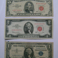 3 Old US Banknote Paper Money Currency Collection with 1963 Red Seal 5 Dollar Bill, Series 1963 2 Dollar and 1957 Silver Certificate Dollar