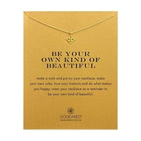 """Dogeared Be Your Own Kind Of Beautiful Gold Dipped Open Clover Boxed 16"""" Necklace"""