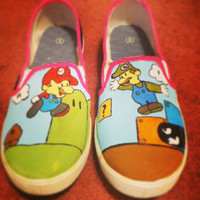 Super Mario Bros hand painted shoes by FunFeet on Etsy