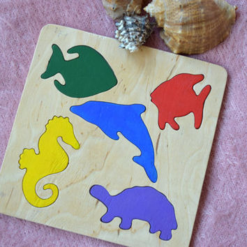 Wooden puzzle Baby Toy Montessori Toy Educational Toys Ocean Sea wooden puzzle Toddler wood Baby Shower Gift Organic Eco Friendly kids toy