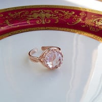 SALE - Pink Amethyst Cocktail Ring, Rose Gold over Sterling Crown Setting, adjustable, Bridal Gift, Graduation, Birthdays