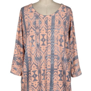 Peach & Blue-Grey African Print 3/4 Sleeve Top *MADE IN USA*