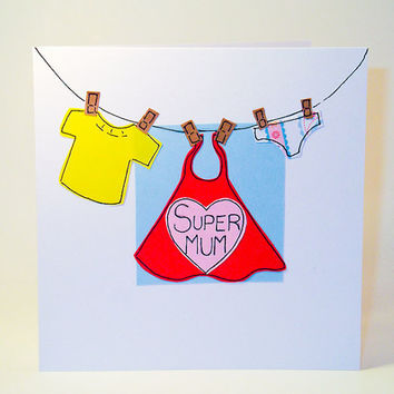 Greeting Card - Super Mum Birthday Card - Mother's Day Card