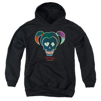 ac spbest Suicide Squad - Harley Skull Youth Pull Over Hoodie