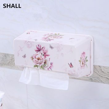 SHALL Europe Melamine Non-trace Stick Wall-Hanging Waterproof Home&Car Tissue Case Box Sanitary Accessories Napkin Paper Holder