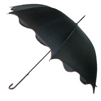 Auto Open Waves Umbrella with Leather Hook Handle in 3 colors