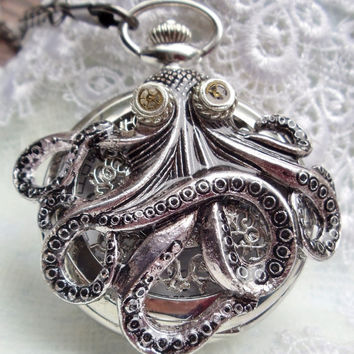 Octopus pocket watch, mens pocket watch with octopus mounted on front case in silver