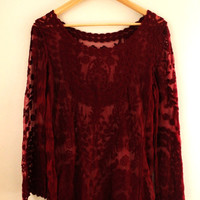 Boho Sheer Maroon Lace Mini Dress/Swimsuit Cover Up