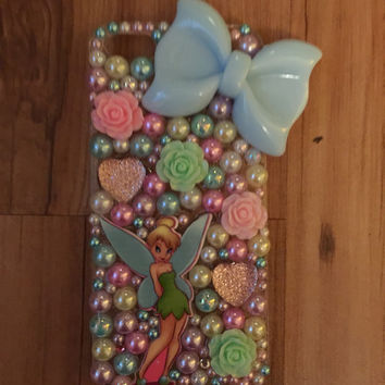 Tinkerbell Fairy Flowers Decoden Phone Case Iphone 4/4s/5/5s/5c/6/6 plus Samsung S3/S4/S5
