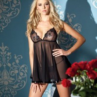 Black Sheer Mesh Babydoll Empire Waist Satin Trim Intimates Lingerie @ Amiclubwear Intimates Clothing online store:Lingerie,Corset,Bustier,Women's Intimates,Sexy Intimate,Corset Intimates,intimates underwear,sheer intimates,silk intimates,intimates bras,h