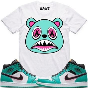 BAWS White Sneaker Tees Shirt - Jordan 1 Mid South Beach