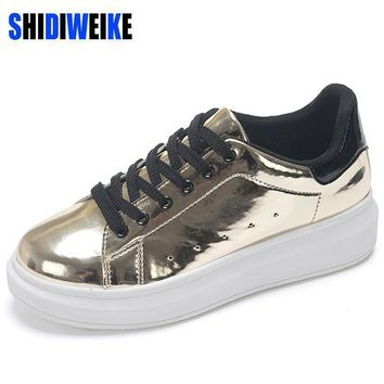 SHIDIWEIKE Patent Leather Creepers Platform Shoes Woman 2017 Casual Loafers Gold Silve