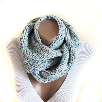 Green mint knit cowl - scarf, neck warmer, birthday gifts, women's accessory, fashion, christmas gifts, long scarf