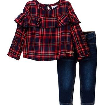 HUDSON Jeans | Plaid Shirt & Jeans Set (Baby Girls) | Nordstrom Rack