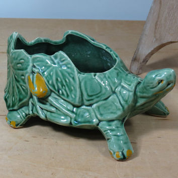 McCoy Turtle Planter Lilypads & Cold Paint . USA Pottery Planter Circa 1940s - 1950s