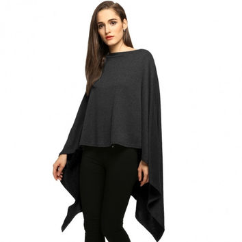 Women Fashion Slash Neck Long Asymmetric Hem Wraps Poncho Cape Coat