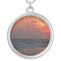 Ocean Sunset - Oak Island, NC Round Pendant Necklace