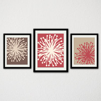 "Modern Floral Burst Set of Three. Abstract Flowers. Minimalist. Warm Colors. Living Room. Bedroom. Bathroom. Kitchen. 8.5x11"" Prints."