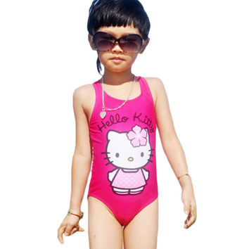 Hello Kitty Girl's Swimsuit For Children Swimwear One Piece Swimming Suit Kids Brand Clothes Summer Beach Wear SW280-CGR1