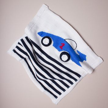 "Estella Organic Cotton Race Car Lovey or Baby Security Blanket 14"" x 14"""