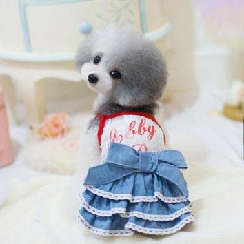 ESBON Hot sale free shipping hot dog Lace Jeans  skirt, dog's's jeans dress for Teddy bear, girl chihuahua,yorkshire,poodle two colors