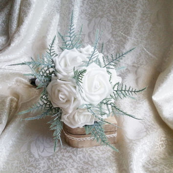 White foam roses ferns flowers wedding SMALL BOUQUET satin Handle, greenery bride, bridesmaids, toss custom