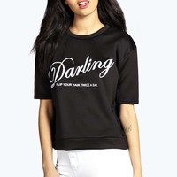 Yasmin Short Sleeve Slogan Jersey Sweat