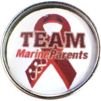 Team Marine Parents Marine Corp Support Our Troops Ribbon 18MM - 20MM Snap Charm New Item