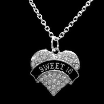 Crystal Sweet 16 Heart Sixteen Birthday Gift Girl Daughter Charm Necklace