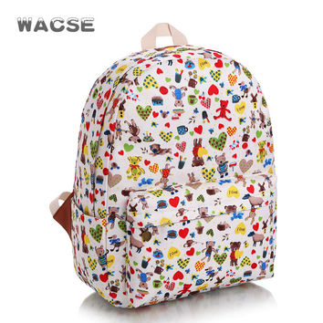Travel Fashion Cute Cartoons Lovely Canvas Stylish Casual Backpack =