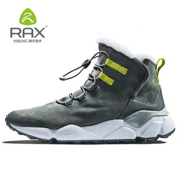 2018 RAX Outdoor Hiking Boots For Men Women Breathable Snow boots Man Leather Walking Shoes Hiking Shoes Fleece Winter Boots