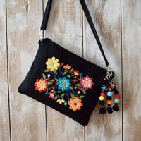 Embroidered Crossbody Bag,Embroidered Bag,Floral Crossbody Bag,Embroidered Clutch,Black Floral Purse,Floral Clutch,Bohemian Clutch,Black Bag