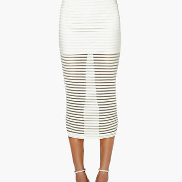 White High-Waisted Striped Midi Skirt