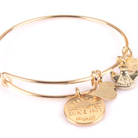 Coin KING Bracelet Fashion Bangle Gold Plate Simple wiring Alex and Ani Classic Bangle Luckly Bracelet Jewelry BR050