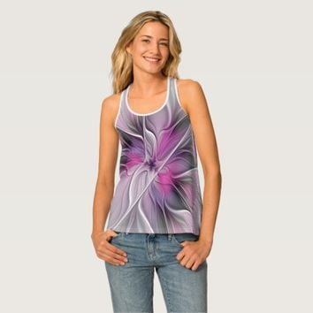 Floral Fractal Modern Abstract Flower Pink Gray Tank Top