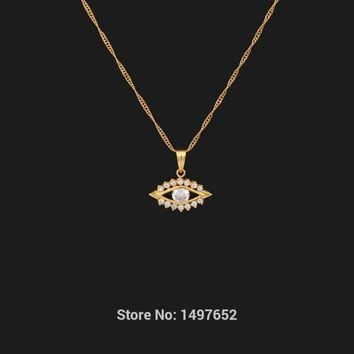 Gold Filled Plated FashionJewelry Men Women Necklace Exquisite Zircon Necklace & Pendant Evil Eye Trendy Turkey Jewelry