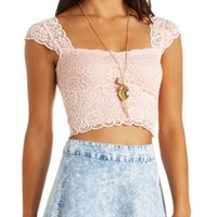 Cap Sleeve Scalloped Lace Crop Top by Charlotte Russe - Pale Pink