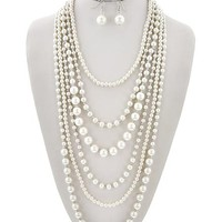 Long Cream Synthetic Pearl Necklace
