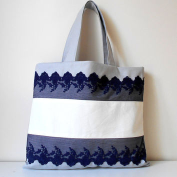 Navy lace tote bag, canvas tote bag, lace shoulder bag, navy and white bag